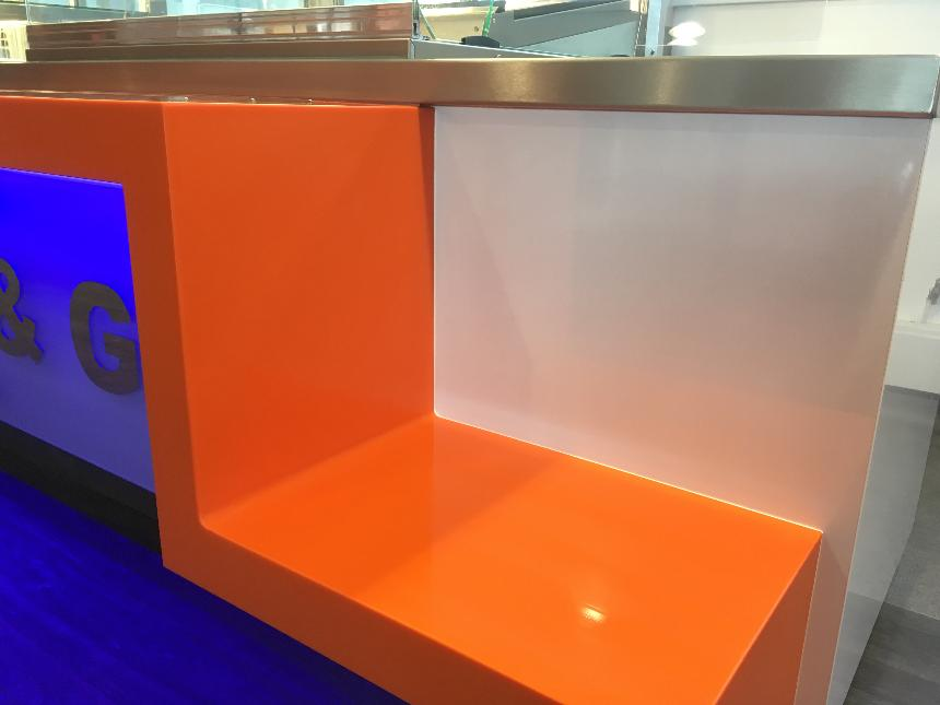 Tray pick up point coved upstand downstand drop down slab end waterfall end orange lg hi macs solid surface white gloss laminate panel formica polyrey