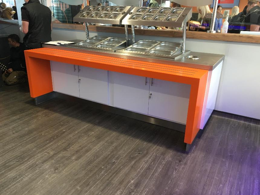 Trayslide orange lg hi macs solid surface formica polyrey gloss white laminate panel condiment unit lockable doors