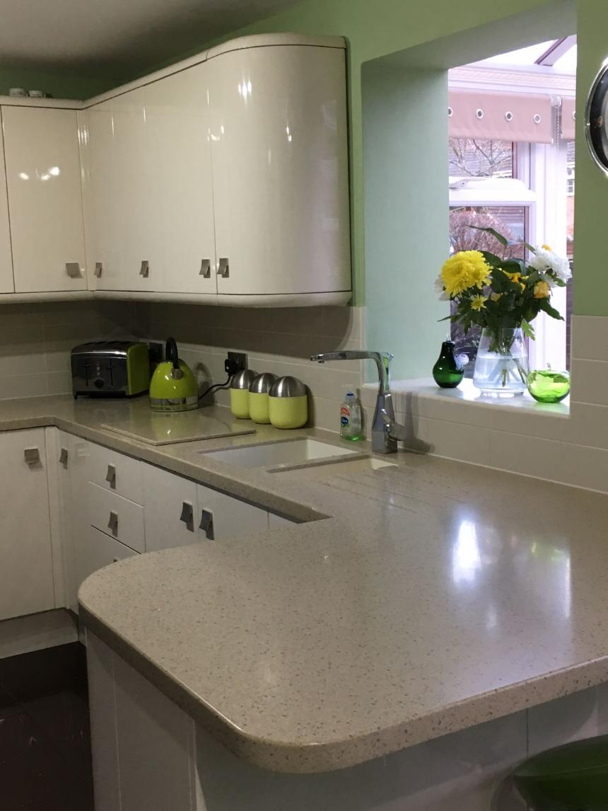 Samsung staron Tempest genesis solid surface worktops Corian sinks, waterfall edge, curved ends, Caerleon, newport